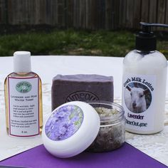 If you love the soothing properties of lavender, you will WANT THIS BASKET! This gift basket contains: A 5 oz. jar of lavender facial scrub; A 4.5 oz. bar of my premium all-natural lavender facial soap; A 5 oz. bottle of my rose and lavender facial toner for dry/normal skin; An 8 oz. bottle of Goat's Milk and Shea Butter Lotion in Lavender fragrance. $45 with free shipping.