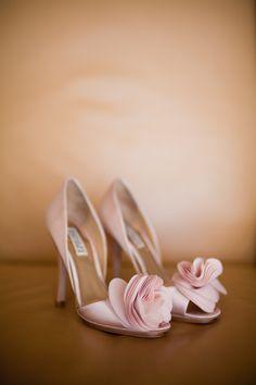 Soft pink fabric flower shoes