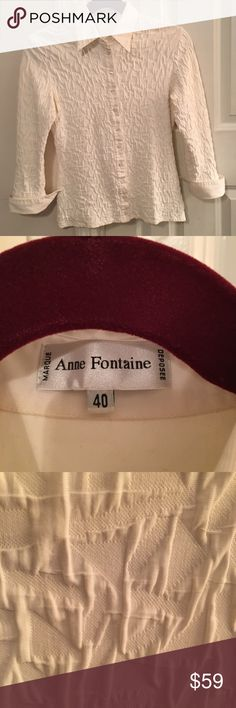 Anne Fontaine Eggshell shirt 40 (6-8) France 🇫🇷 Stretchy eggshell Anne Fontaine shirt with fold up cuffs size 4 (6-8) gorgeous! Anne Fontaine Tops Blouses