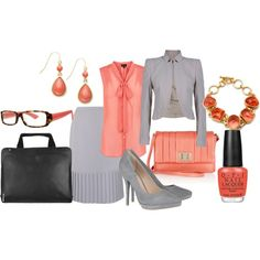 Don't want to wear boring neutral colored suits? Add a pop of color with a bright blouse and coordinate your accessories to match!