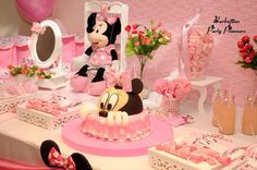 Pink and black polka dot Minnie Mouse birthday party dessert table! See more party ideas at CatchMyParty.com!