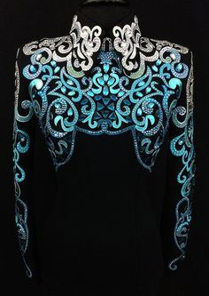 Just Peachy Show Clothing ~ Fine Western Horse Show Apparel - Just Peachy Show Clothing ~ Fine Western Horse Show Apparel Teal Ombre Horsemanship Shirt by Designs ~ Ladies Small – Just Peachy Western Show Shirts, Western Show Clothes, Horse Show Clothes, Western Outfits, Western Wear, Riding Clothes, Skating Dresses, Dance Dresses, Beauty And Fashion