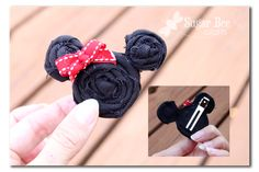 fabric flowers - for pins or hair clips. love the mickey mouse version