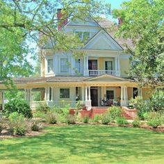 """Georgia's Antebellum Trail on Instagram: """"Built in the late 19th century in @visitmadisonga, the Walton house is the quintessential Queen Anne. Click through photos to see pictures…"""" Madison Georgia, Revival Architecture, Southern Architecture, Antebellum Homes, Georgia Homes, Southern Plantations, Yellow Houses, Cottage Style Homes, Large Homes"""
