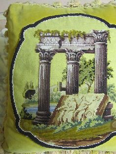 Gorgeous Victorian Beaded Down Filled Needlepoint Pillow With Antique Trim