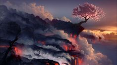 Cherry Blossom Tree on Sea Volcano at Sunset