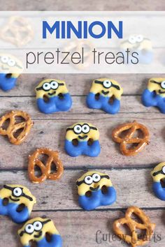 Have a Minions movie night with these cute minion pretzel treats! #MinionsMovieNight #ad