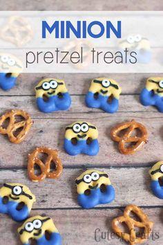 Have a Minions movie night with these cute minion pretzel treats! #MinionsMovieNight #ad