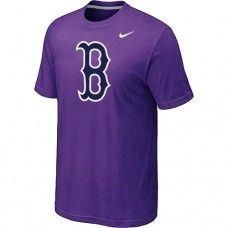 Wholesale Men Boston Red Sox Heathered Blended Short Sleeve Purple T-Shirt_Boston Red Sox T-Shirt