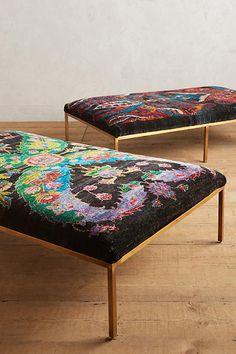Handwoven Silk Carpet Ottoman | Anthropologie