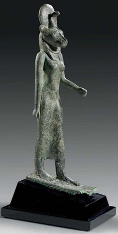 Bronze figure of the goddess Sekhmet, 672-332 B.C. Late period 26th-30th Dynasty.