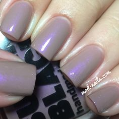 """ModNails swatch of Super Black's """"The Perfectionist""""--a gorgeous taupe iridescent pearl."""