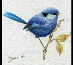 Beating Around the Bush, by Country Bumpkin - Thread painting is so amazing. Embroidered Bird, Crewel Embroidery, Hand Embroidery Patterns, Embroidery Applique, Cross Stitch Embroidery, Machine Embroidery Designs, Thread Painting, Needlework, Birds