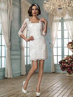 Directsale Sheath/Column Square Short/Mini Lace Wedding Dress Free Measurement
