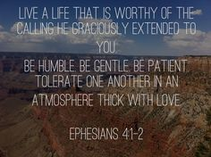 Love how this is worded. Ephesians 4:1-2
