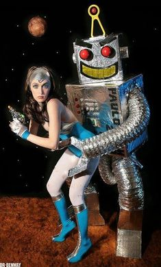 Space Girl and robot Retro Robot, Space Girl, Space Age, Vintage Space, Retro Futuristic, Science Fiction Art, Pulp Art, Sci Fi Fantasy, Sci Fi Art