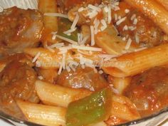 Sausage and Penne Marinara - Spicy Italian sausage with a quick marinara sauce over a bed of penne pasta. Yum!