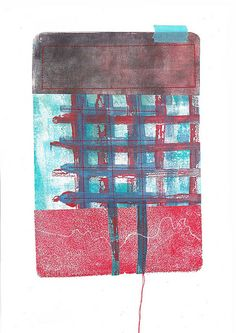 Gelli plate prints collated and stitched
