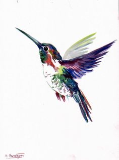 Flying Hummingbird, Original watercolor painting, 12 X 9 in, hummingbird lover…
