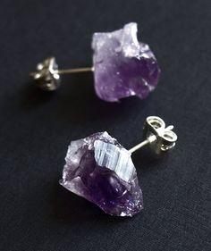 Raw Amethyst Chunk Earrings Geo Earrings Rock Stud от AdamRabbit