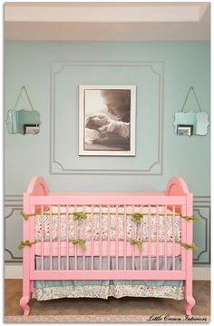 Bedding, crib, wall color