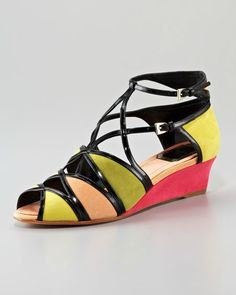 Designer Wedges & Wedge Shoes at Neiman Marcus Peep Toe Wedges, Wedge Sandals, Wedge Shoes, Mondrian Dress, Fashion Art, Fashion Outfits, Online Gratis, Beautiful Shoes, Neiman Marcus