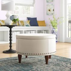 """Three Posts™ Manford 32"""" Wide Genuine Leather Round Storage Ottoman & Reviews   Wayfair Round Tufted Ottoman, Round Storage Ottoman, Tufted Storage Ottoman, Cowhide Fabric, Leather Cocktail Ottoman, Leather Pouf, Extra Seating, Sectional Sofa, Living Room Furniture"""