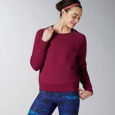 e966489faf Reebok Womens Elements Winter Pack Quilted Crew Sweatshirt in Rebel Berry  Size XL - Training Apparel