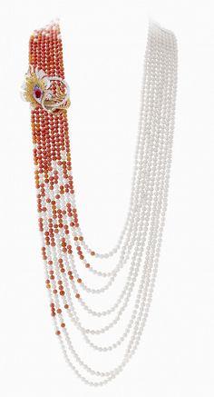 Mexican Fire Opals Pearls. Palais de la Chance, Van Cleef & Arpels...love the fire opals integration into the pearls.