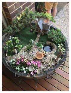 Fairy Garden Pots, Indoor Fairy Gardens, Fairy Garden Houses, Diy Garden, Gnome Garden, Miniature Fairy Gardens, Garden Crafts, Garden Projects, Garden Ideas