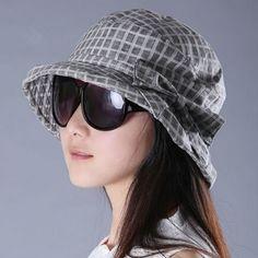 abcc08c2fb7 Gray plaid bucket hat for women spring summer bow sun hats UV