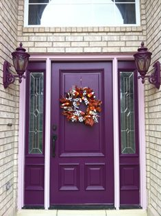 21 ideas front door colors with tan house entrance black shutters for 2019 Purple Front Doors, Front Door Paint Colors, Exterior Paint Colors For House, Painted Front Doors, Front Door Design, Paint Colors For Home, Front Door Decor, Purple Home, Purple Gray