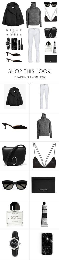 """Unbenannt #806"" by fashionlandscape ❤ liked on Polyvore featuring Totême, J Brand, Manolo Blahnik, Acne Studios, 3.1 Phillip Lim, NYX, Yves Saint Laurent, Balenciaga, Byredo and Aesop"