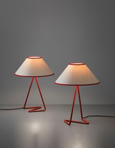 JEAN ROYÈRE Pair of 'Flic Flac' table lamps, Painted metal, paper shades. Each: 40 cm in. Decoration Design, Lamp Design, Cool Lighting, Lighting Design, Lighting Stores, Industrial Lighting, Modern Lighting, Contemporary Table Lamps, Modern Table