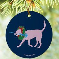 Lacrosse dog Porcelain Ornament #lacrosse