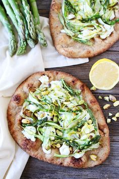 Asparagus, Goat Cheese, and Pistachio Flatbread