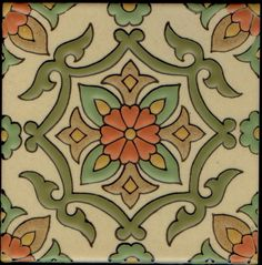 Santa Rosa, Verano Pattern from Catalina Designs. Traditional Mexican Hand Painted Tiles for Pools. Villa & Mission Imports has quality hand painted pool tiles. Ceramic Floor Tiles, Mosaic Tiles, Tiling, Porcelain Tile, Painting Tile Floors, Tile Flooring, Islamic Art Pattern, Patio Tiles, Art Nouveau Tiles