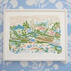 """""""View of the Big Lake"""" Silkscreen Print 16x20 inspired by my Rural Landscape series and paired with """"Anna"""" wallpaper!"""