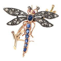 Victorian Dragonfly Brooch with Diamonds Rubies and Sapphires | From a unique collection of vintage brooches at https://www.1stdibs.com/jewelry/brooches/brooches/