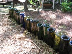 bottle edging/ butterfly watering stations/  use screw-on top bottles w/ hole poked in them as deep root irrigation