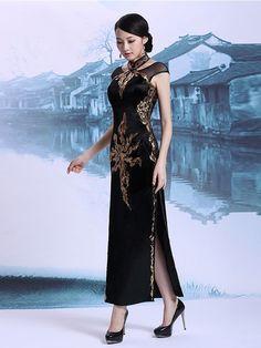 Custom Tailored Black Halter Qipao / Cheongsam Dress with Keyhole
