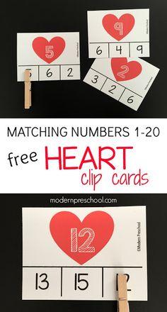 Free! Printable heart number identification clip cards with fine motor practice for preschool & kindergarten.