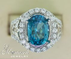 """""""At Monarch Jewelry, we have always had a strong selection of various gemstones in stock.  Trends point towards an array of beautiful colors, with a prevalence of greens.  We bought this beautiful blue zircon (from Cambodia) to be set in this ring."""" #MonarchJewelry  #WinterPark #Florida  #CentralFlorida #Jeweler"""