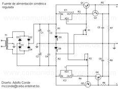 Diagrama de fuente regulada simétrica.