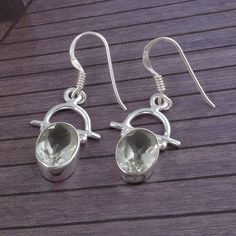 GREEN AMETHYST CUT 925 SOLID STERLING SILVER EARRING 4.04g JEWELLERY DJER1777 #Handmade #Earring