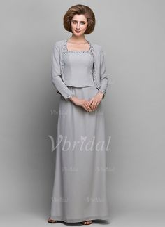 A-Line/Princess Scoop Neck Floor-Length Ruffle Beading Chiffon Zipper Up Regular Straps Sleeveless Yes Silver Spring Summer Fall General Mother of the Bride Dress
