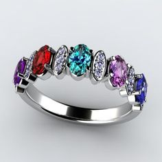 Larger 5x3 oval natural fine birthstones in this custom designed mothers ring. Approximately .15 carats of ideal cut diamonds with F color (colorless) and Si2 clarity (flawless to the naked eye 14kt gold weighs 4.4 grams. 18kt gold weighs 5 grams. P