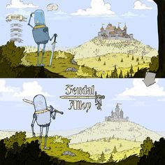 Feedback What do you think about the new remade menu in #FeudalAlloy?   #indiegames #gamedev #game #drawn #robot #rpg #steamgame #2d