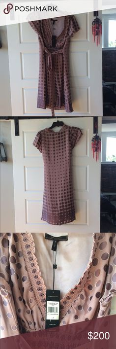 Bcbgmaxazria polka dot front tie dress NWT. Offers welcomed! BCBGMaxAzria Dresses Mini