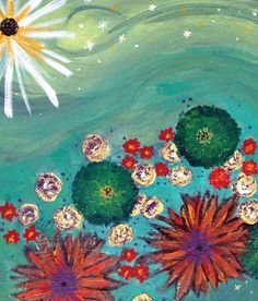 Original Cosmos Colorful Floral Acrylic Painting by Entropytheshop, $24.50 #ooak #fineart #Etsy